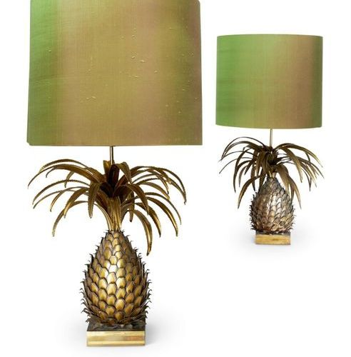 A PAIR OF LARGE GILT METAL ANANAS TABLE LAMPSATTRIBUTED TO MAISON JANSEN A PAIR …