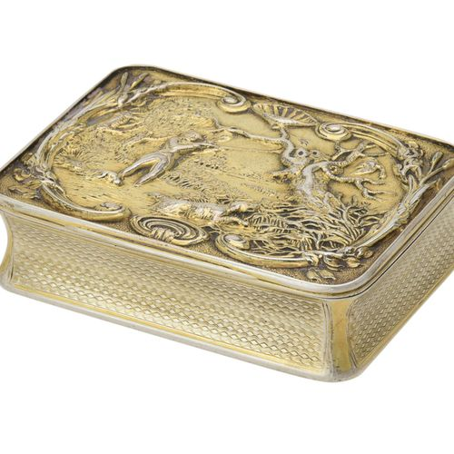 [Sporting interest] A George III silver gilt snuff box by John Linnit & William …
