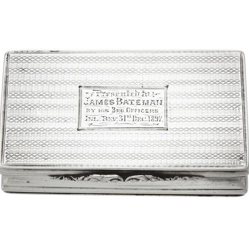 A Victorian silver rectangular snuff box A Victorian silver rectangular snuff bo…
