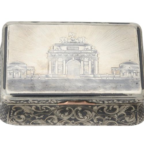 A Russian silver and niello oblong snuff box A Russian silver and niello oblong …