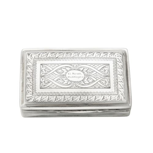 A George IV silver rectangular snuff box by Clark & Smith A George IV silver rec…