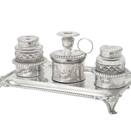 A George III silver rectangular inkstand by John Roberts & Co. A George III silv…
