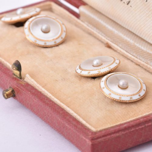 Y A pair of early 20th century mother of pearl and pearl cufflinks and six cased…