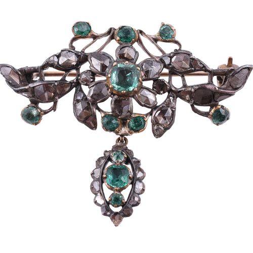 A late 18th century Iberian diamond and emerald brooch Une broche ibérique en di…