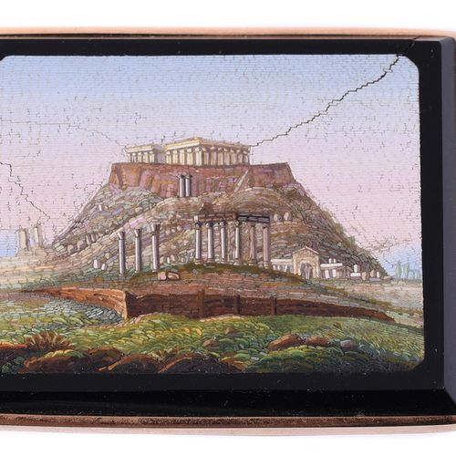 A mid 19th century micromosaic brooch of the Acropolis of Athens Broche en micro…