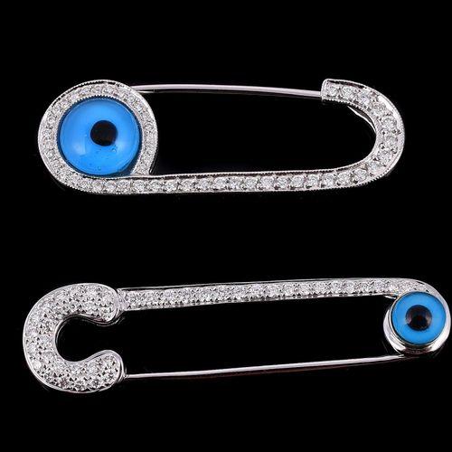 Two diamond set Eye safety pin brooches Deux broches d'épingle de sûreté Eye ser…