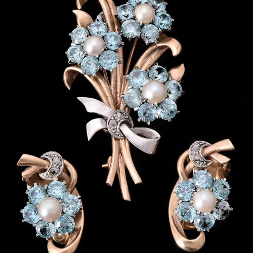A mid 20th century blue zircon, cultured pearl and rose cut diamond floral spray…
