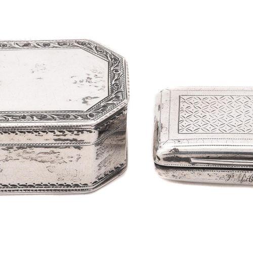 A George III silver octagonal snuff box by Susannah Barker Une tabatière octogon…