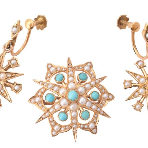 A late Victorian seed pearl and turquoise brooch and seed pearl star earrings Un…