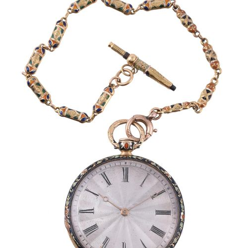 Unsigned, Gold coloured and enamelled slimline pocket watch Non signée, Montre d…