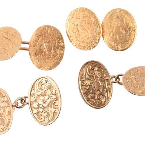 A pair of 18 carat gold cufflinks Une paire de boutons de manchette en or 18 car…