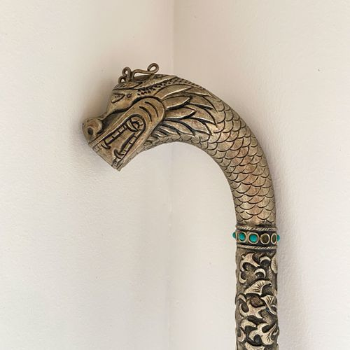Southeast Asia, circa 1900.  Sword cane with a pommel featuring a makara head wi…