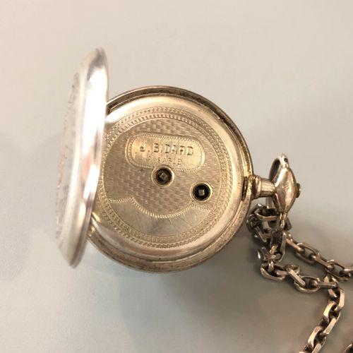 Montre de poche et en argent 750/1000  Cadran émaillé blanc, chiffres romains no…