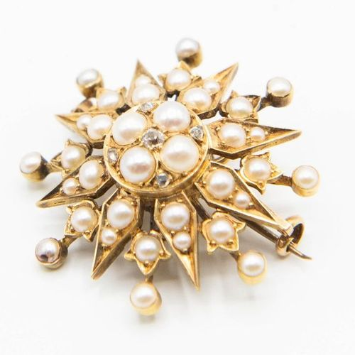 A MID VICTORIAN PEARL AND DIAMOND SET BROOCH, the star shaped mount set througho…