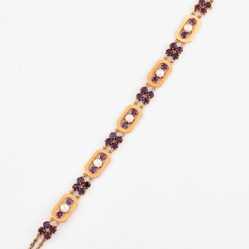 BRACELET AMÉTHYSTE ET PERLES FENDUES, maillons oblongs sertis de perles fendues …