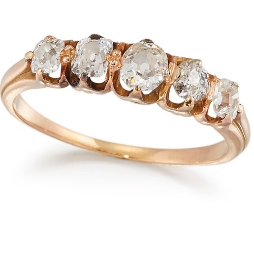 BAGUE DE CINQ PIERRES EN DIAMANT, diamants gradués de taille ancienne et de tail…