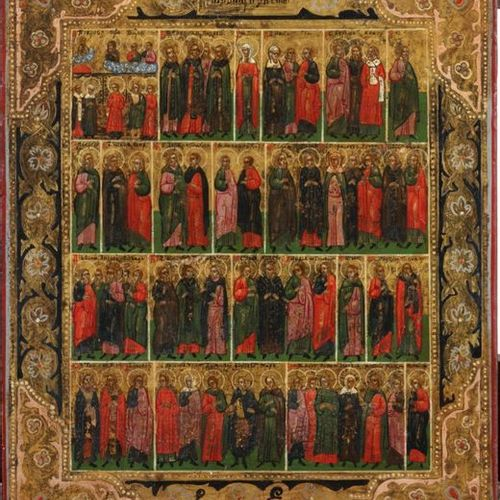 A russian calender icon with Saints, 19th century Tempera and gold leaf on panel…