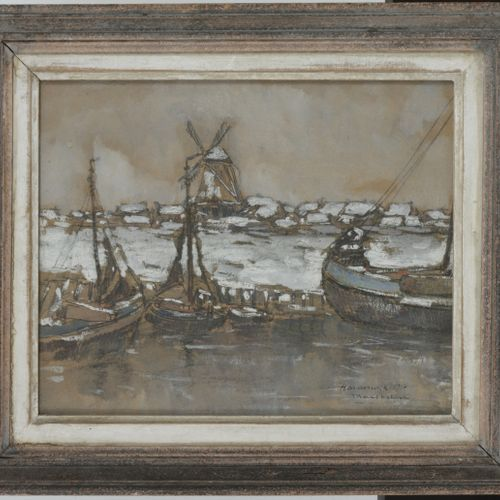 """Max Chottiau (Tongeren 1881 1968), 'Harderwijk"""" Signed and inscribed with title …"""