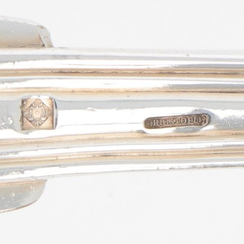 """(2) piece set sprinkler spoons, Christofle """"Chinon"""", silver plated. Modèle """"Chin…"""