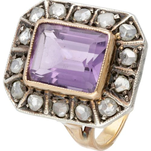 14K. Rose gold Art Deco ring set with approx. 2.86 ct. Amethyst and rose cut dia…