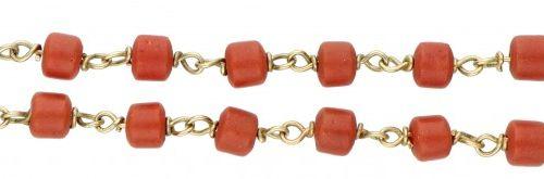 14K. Yellow gold two row bracelet with red beads. 印章:585。有红色珠子(直径约7毫米)。长:18厘米。重量…