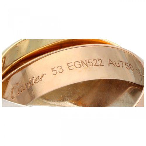 18K. Tricolor gold Cartier 'Trinity' ring. Numéro de série : 53 EGN522. Poinçons…