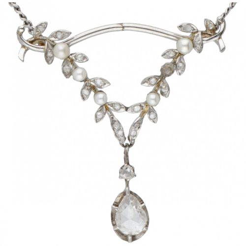 18K. White gold necklace with antique Pt 950 platinum pendant set with diamond a…