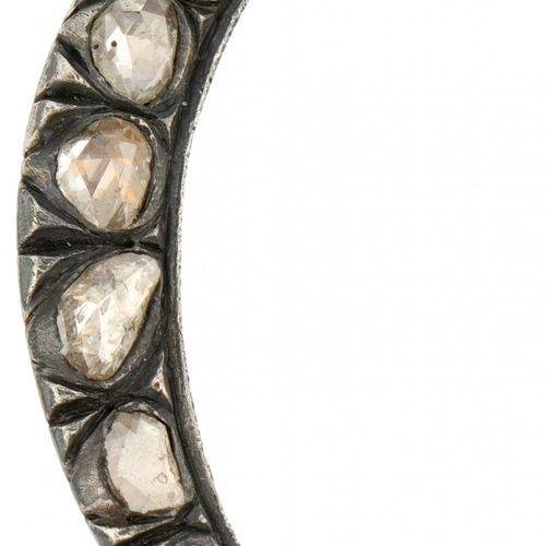 Silver antique crescent brooch set with rose cut diamond 835/1000. Poinçon : 835…
