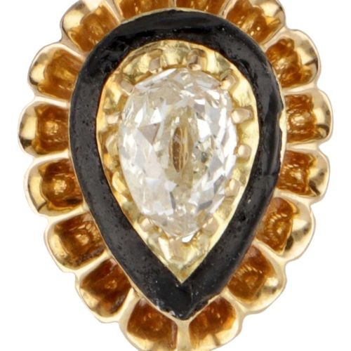 14K. Yellow gold antique lapel pin set with approx. 0.43 ct. Diamond and black e…