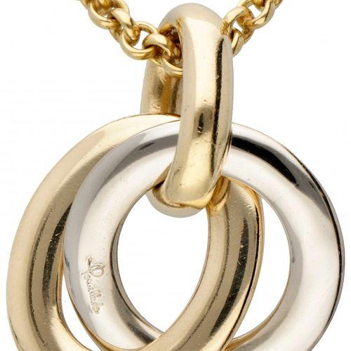 18K. Bicolor gold Pomellato Italian design necklace with pendant. Poinçons : Pom…