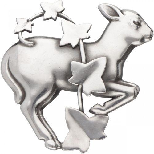 Arno Malinowski for Georg Jensen no.311 silver 'Lamb and Ivy' brooch 925/1000. P…