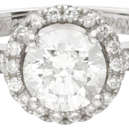 Pt 950 Platinum shoulder engagement ring set with approx. 1.23 ct. Diamond. Insc…
