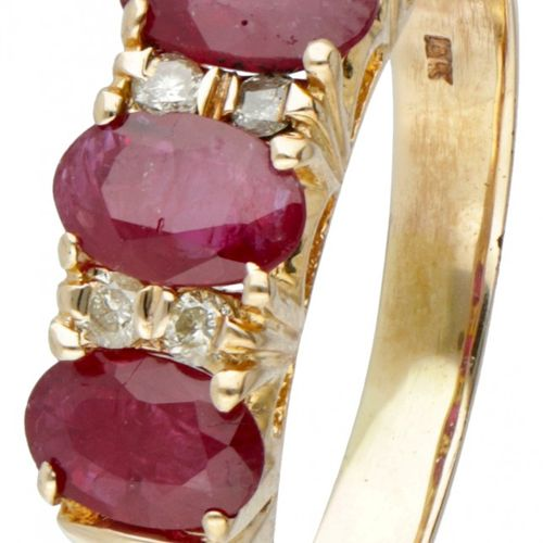 14K. Yellow gold ring set with approx. 1.16 ct. Natural ruby and approx. 0.06 …