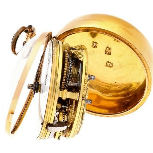 Pocket watch gold, verge escapement 'Clay, London' Men's pocket watch Manual win…