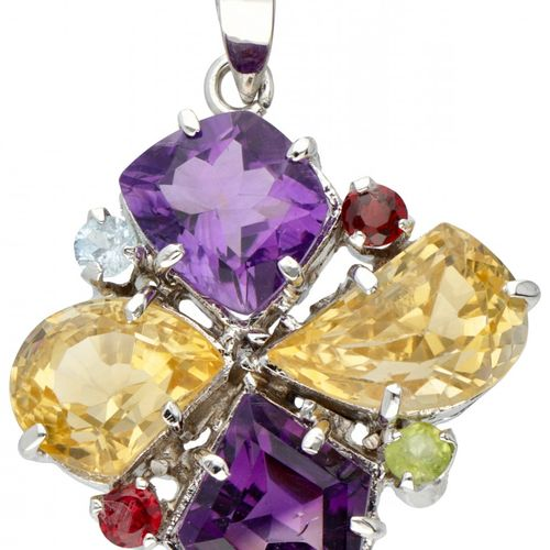Silver pendant set with various gemstones including amethyst, citrine and garnet…