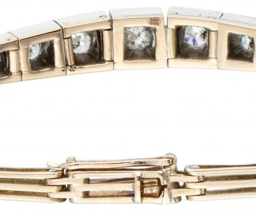 18K. Rose gold Art Deco bracelet set with approx. 0.58 ct. Diamond. 印记。750.带安全夹。…