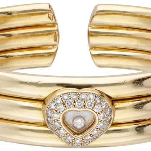 18K. Yellow gold Chopard 'Happy Diamonds' bangle bracelet. 印章。萧邦,750。序号:9182984 …