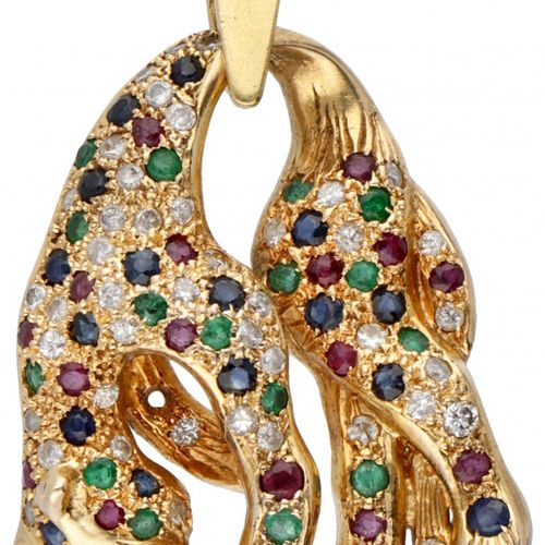 14K. Yellow gold panther pendant set with approx. 0.22 ct. Diamond, natural ruby…