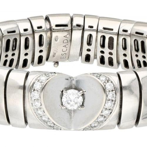 18K. White gold Escada 'Diamond Heart' bracelet set with approx. 1.07 ct. Diamon…