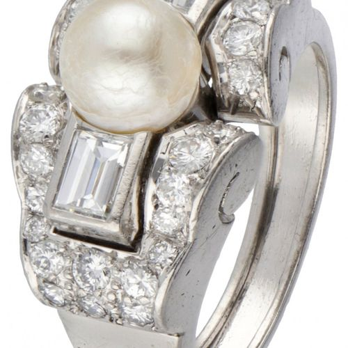 Pt 900 Platinum Art Deco tank ring set with approx. 1.06 ct. Diamond and a fresh…