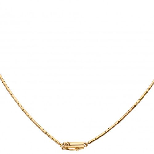 18K. Yellow gold Portuguese necklace with a floral designed silver centerpiece s…