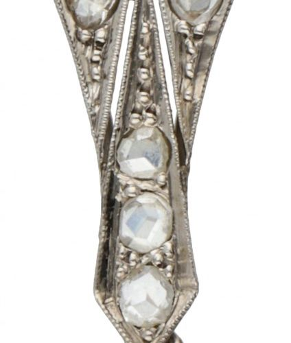 Silver Art Deco pendant set with rose cut diamonds BLA. 有11颗玫瑰式切割钻石(直径1x约4.5毫米,5…