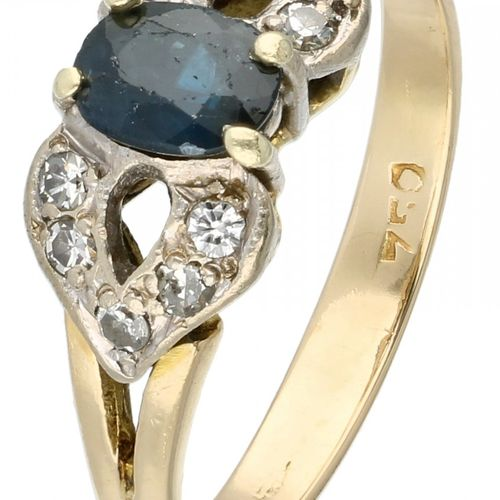 14K. Yellow gold ring set with approx. 0.10 ct. Diamond and approx. 0.49 ct. Nat…