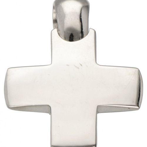 18K. White gold cross shaped Pomellato pendant. 印章。* 469 MI, 750, Pomellato.长x宽:…