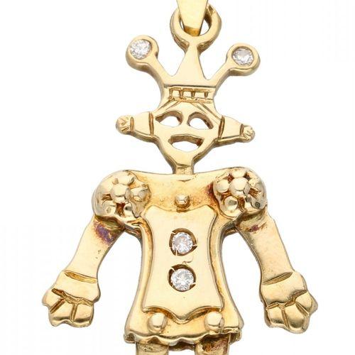 18K. Yellow gold puppet pendant set with approx. 0.04 ct. Diamond. 制作者的标记。504, C…