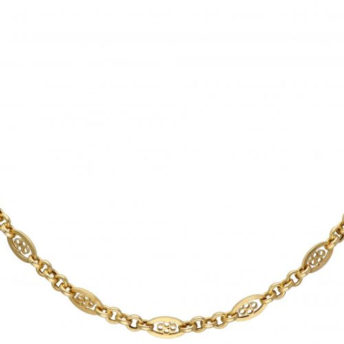 18K. Yellow gold filigree link necklace. Poinçons : 750. Longueur : 49 cm. Poids…