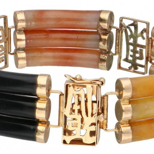14K. Yellow gold vintage bracelet set with black, green, white, orange and yello…