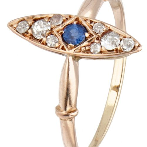 14K. Rose gold marquis ring set with approx. 0.12 ct. Diamond and natural sapphi…