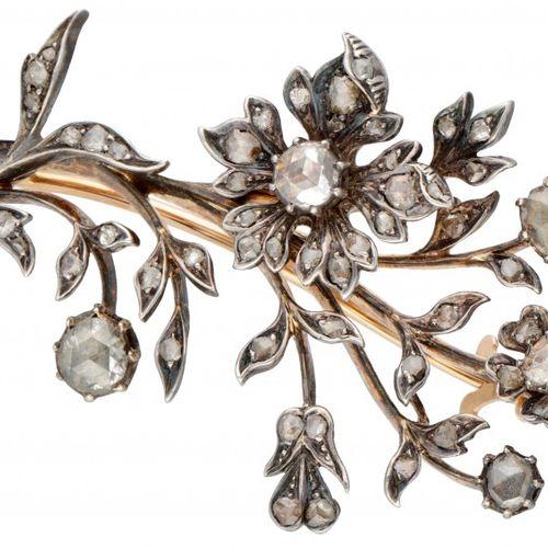BLA 10K. Yellow gold/silver flower shaped brooch set with rose cut diamond. 带安全夹…