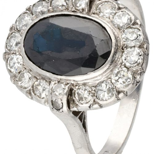 Pt 950 Platinum Art Deco ring set with approx. 1.98 ct. Natural sapphire and app…